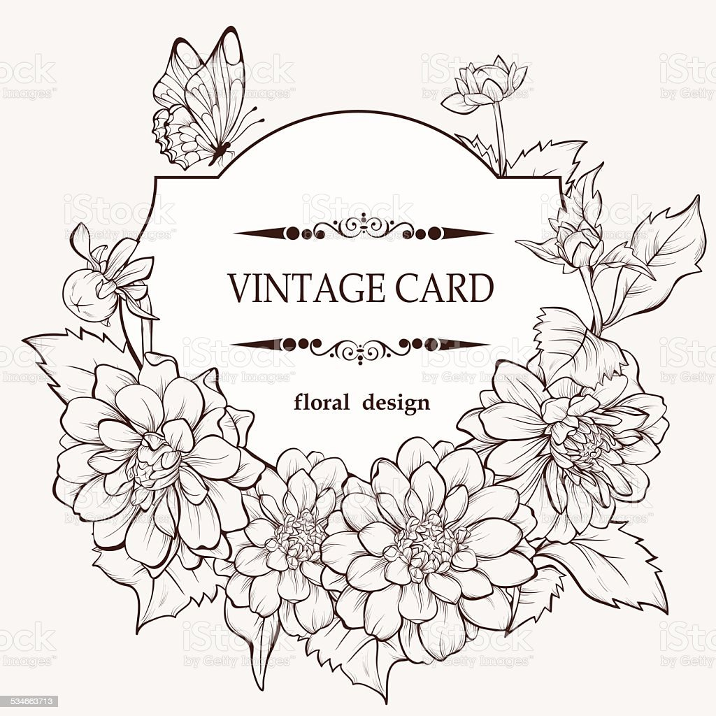 vintage hand drawing background with dahlia flowers and butterfly