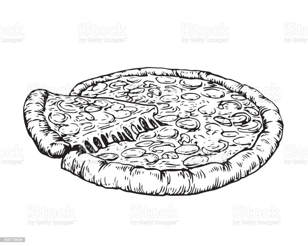 Uncategorized Drawing Pizza vintage hand drawing pizza illustration stock vector art 830779038 royalty free art