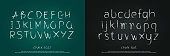 vintage hand drawn alphabet drawing chalk style on green chalkboard with traces of erased chalk. Editable stroke