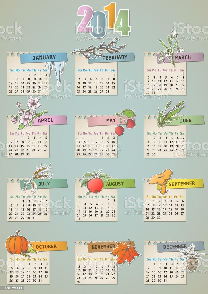 Vintage hand drawn calendar royalty-free stock vector art