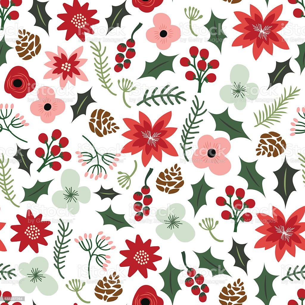 Vintage Hand Drawn Christmas Botanical Foliage Flowers Pattern B vector art illustration