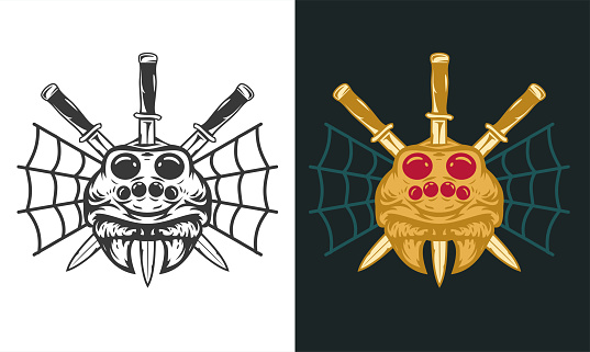 Vintage hand drawn composition with spider head and three knifes isolated on clean background. Design concept for tattoo, print, banner, badge in old school style. Vector illustration.