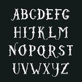 Vintage hand drawn decorative serif alphabet.