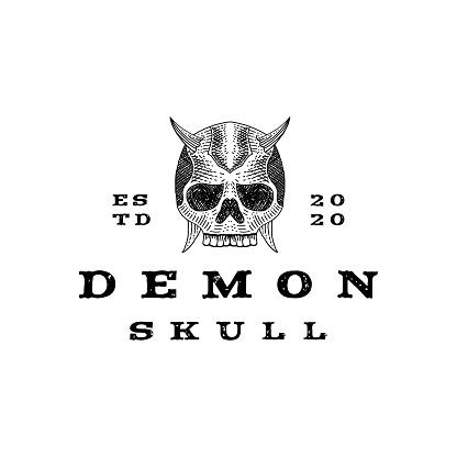 Vintage hand drawn demon skull designtype stock illustration Skull and Crossbones, Skull, Devil, demon, design, illustration