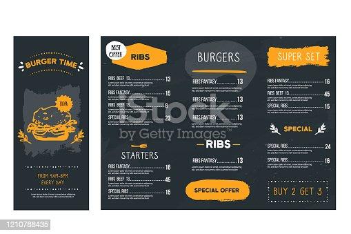istock Vintage hand drawn fast food menu restaurant, Burger template, american hamburger illustration, brochure poster 1210788435
