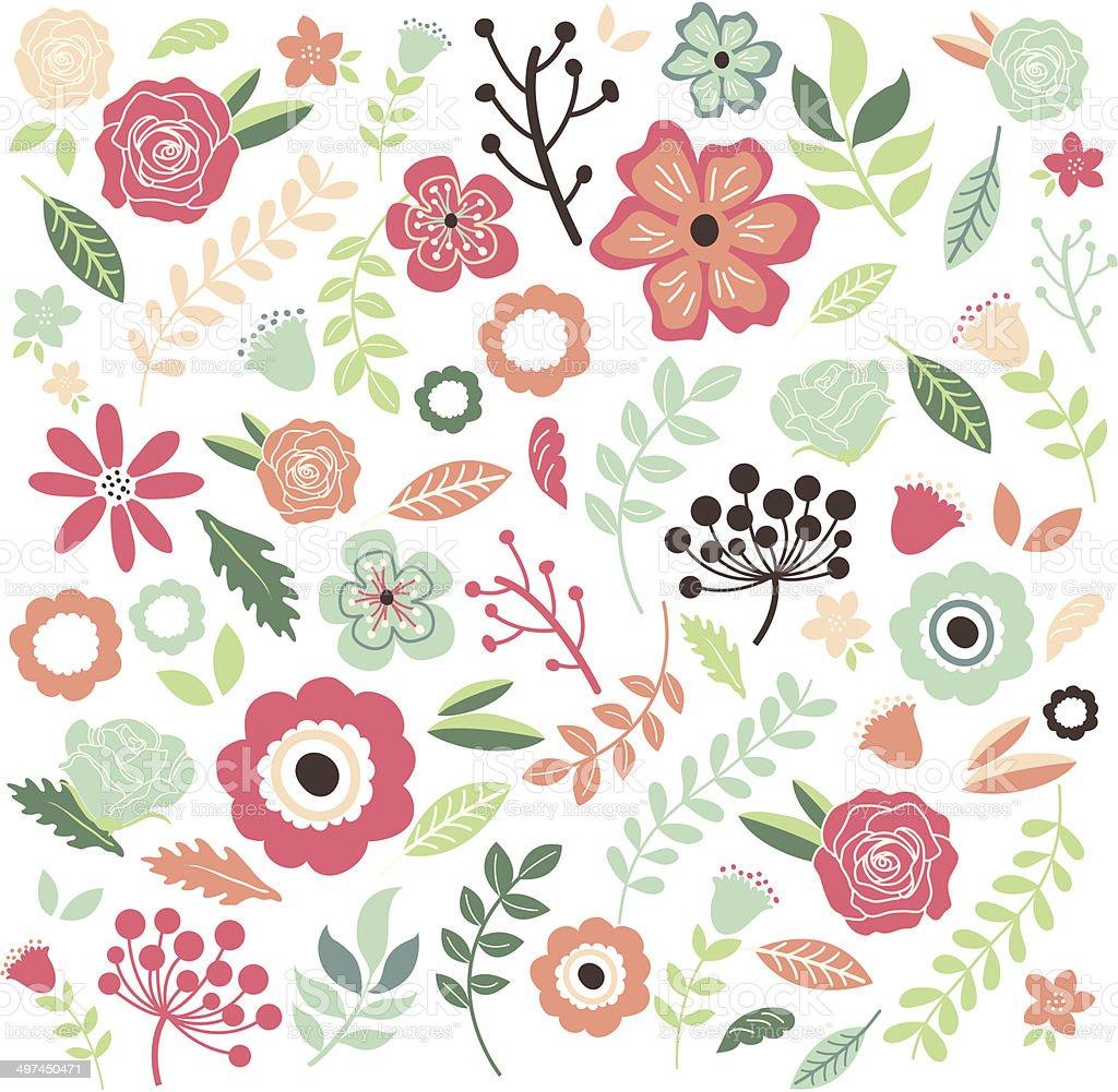 Fondo De Flores Vintage Dibujados A Manoilustracion Illustracion