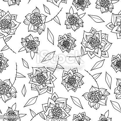 Vintage Hand Drawn Flowers Classic Design With Retro Style Background Seamless Pattern Vector - Stockowe grafiki wektorowe i więcej obrazów Akwarela 965048300