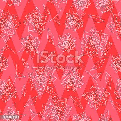 Vintage Hand Drawn Flowers Classic Design With Retro Style Background Seamless Pattern Vector - Stockowe grafiki wektorowe i więcej obrazów Akwarela 965049300