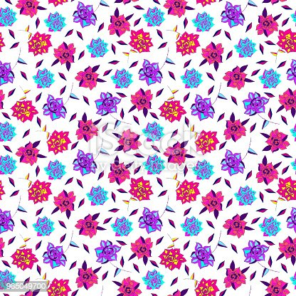 Vintage Hand Drawn Flowers Classic Design With Retro Style Background Seamless Pattern Vector Stock Vector Art & More Images of Art 965049700