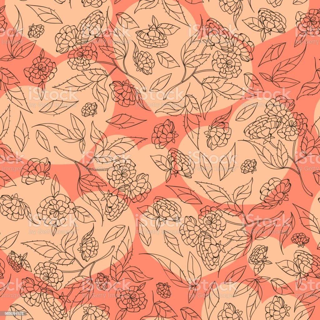 Vintage hand drawn flowers classic design with retro style background seamless pattern vector vintage hand drawn flowers classic design with retro style background seamless pattern vector - stockowe grafiki wektorowe i więcej obrazów akwarela royalty-free