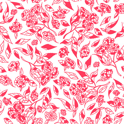Vintage Hand Drawn Flowers Classic Design With Retro Style Background Seamless Pattern Vector Stock Vector Art & More Images of Art