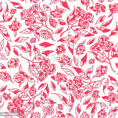 Vintage Hand Drawn Flowers Classic Design With Retro Style Background Seamless Pattern Vector Stock Vector Art & More Images of Art 965054200