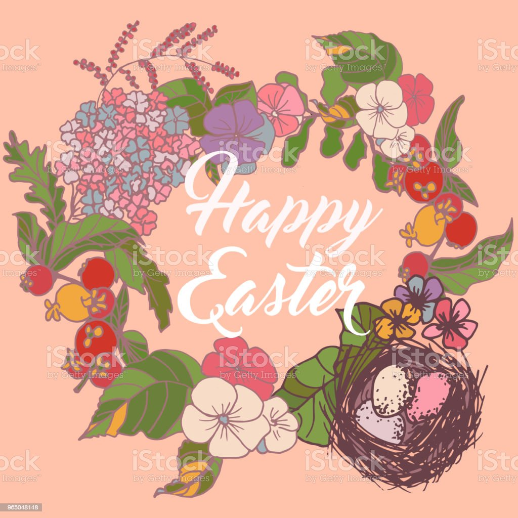 Vintage hand drawn Happy Easter card vector with flowers and  bird nest vintage hand drawn happy easter card vector with flowers and bird nest - stockowe grafiki wektorowe i więcej obrazów akwarela royalty-free