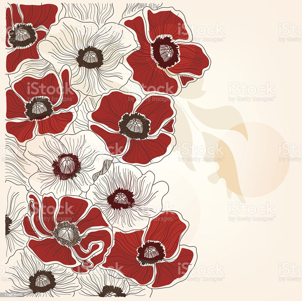 Vintage hand drawn poppies background royalty-free stock vector art