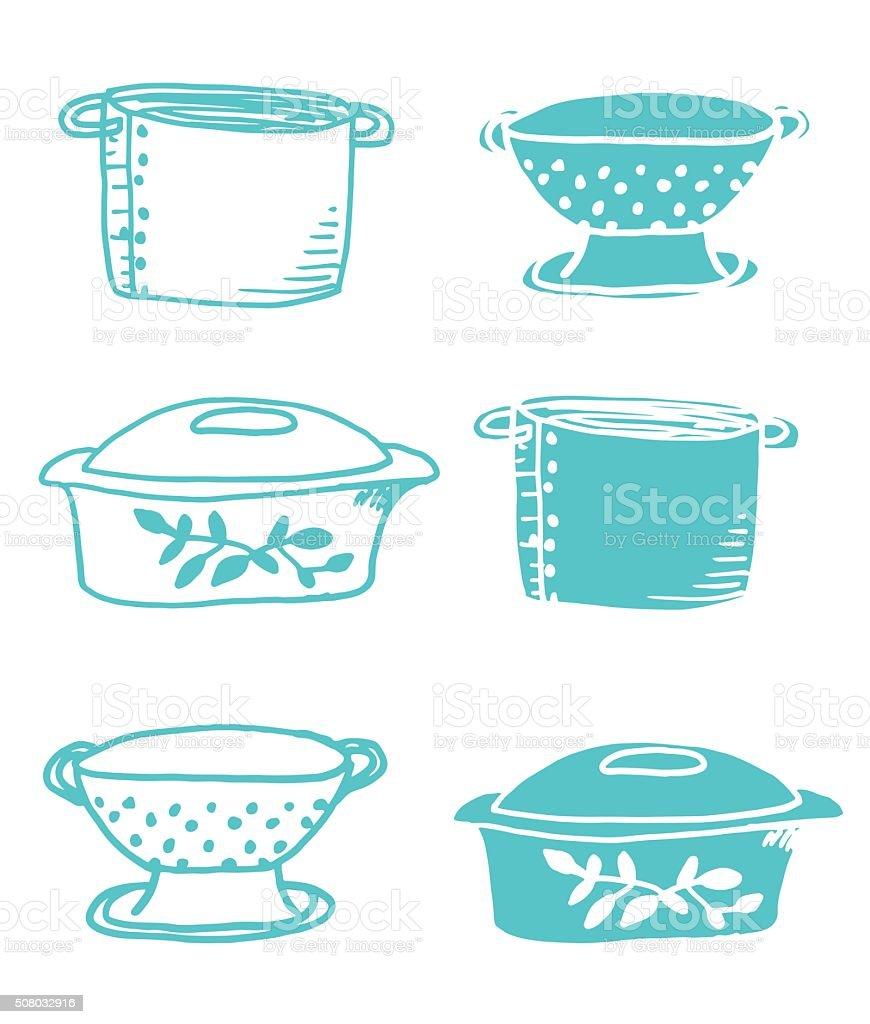 Vintage Hand Drawn Retro Kitchen Casseroles and Pots vector art illustration