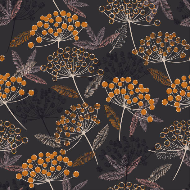 Vintage Hand drawn seamless vector pattern. Fall/winter line flowers and orange berries design for fashion,fabric.wallpaper and all prints vector art illustration