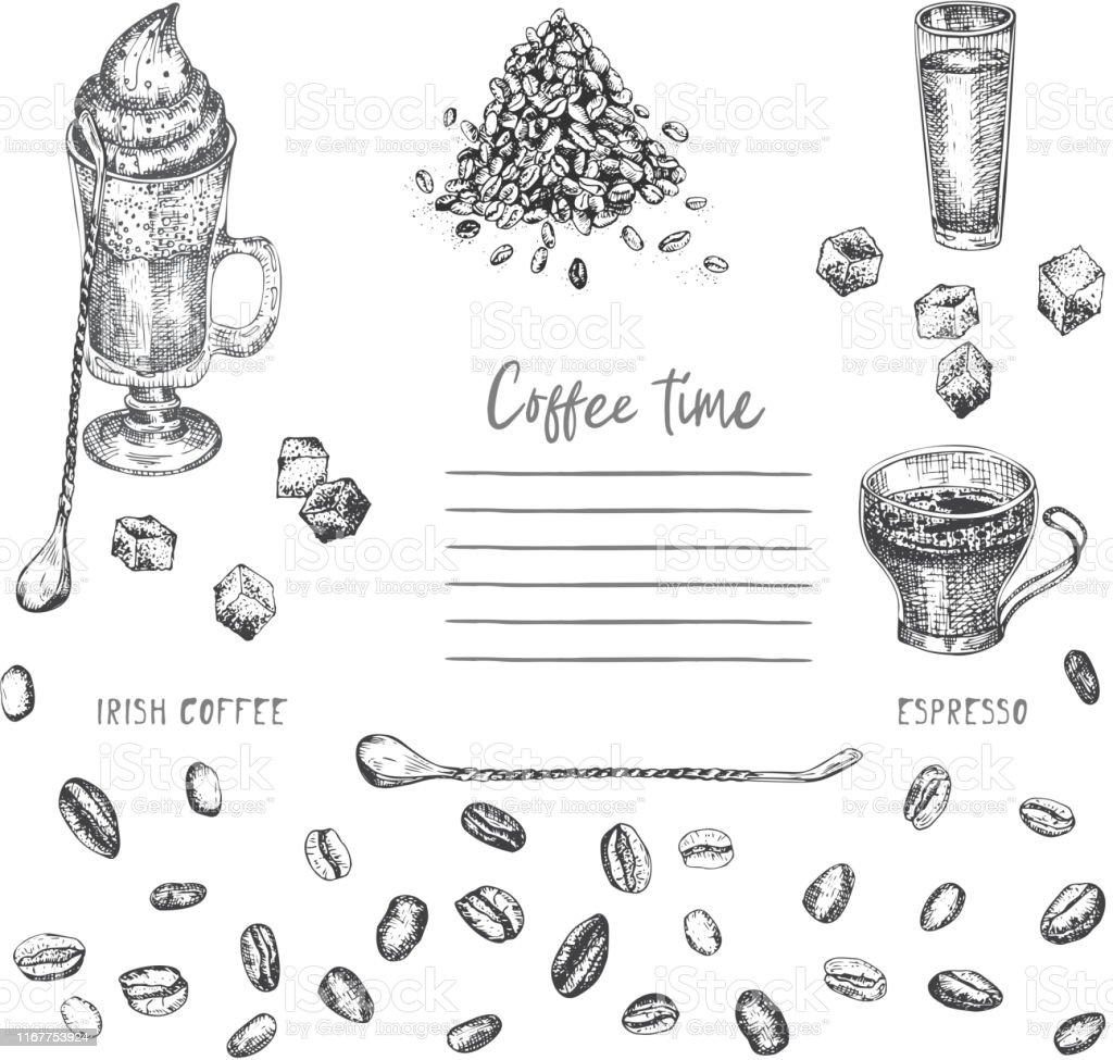 Vintage Handgezeichnete Skizze Design Bar Restaurant Cafémenü Auf Weißem  Hintergrund Grafikvektorkunst Irische Kaffee Kreative Vorlage Für Flyer ...
