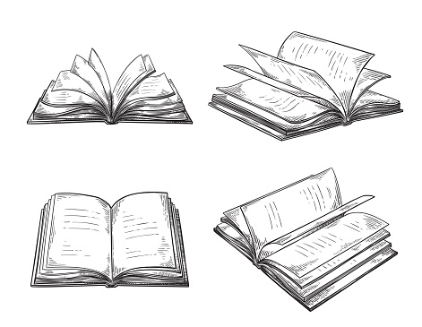 vintage hand drawn sketch set of books retro black and white drawing line graphic design vector illustration.