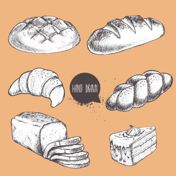 vintage handgezeichnete skizze bäckerei stilgruppe. brot, croissant, brot, brötchen, toastbrot und teil des kuchens. - brotzopf stock-grafiken, -clipart, -cartoons und -symbole