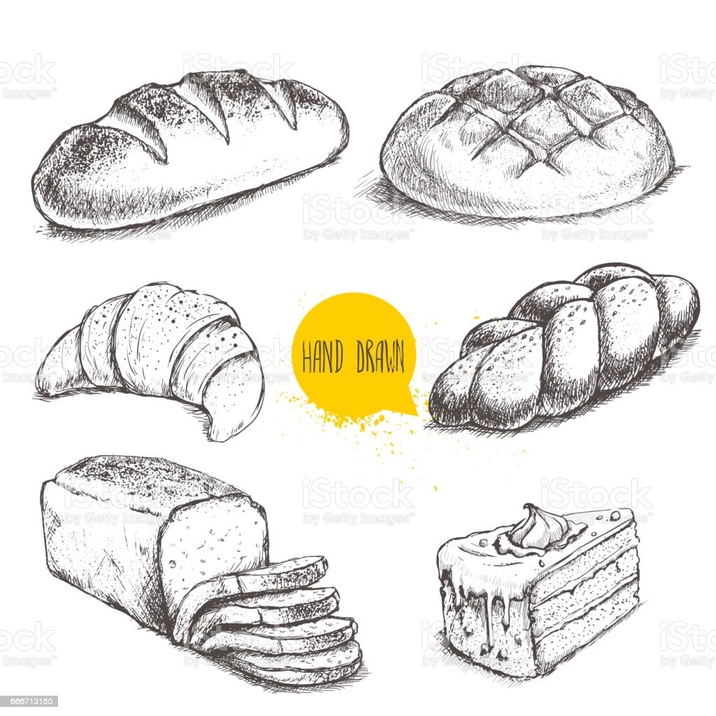 Vintage hand drawn sketch style bakery set. vector art illustration
