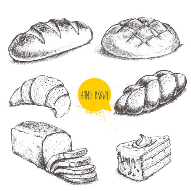 Estilo Vintage dibujados a mano dibujo conjunto de panadería. - ilustración de arte vectorial