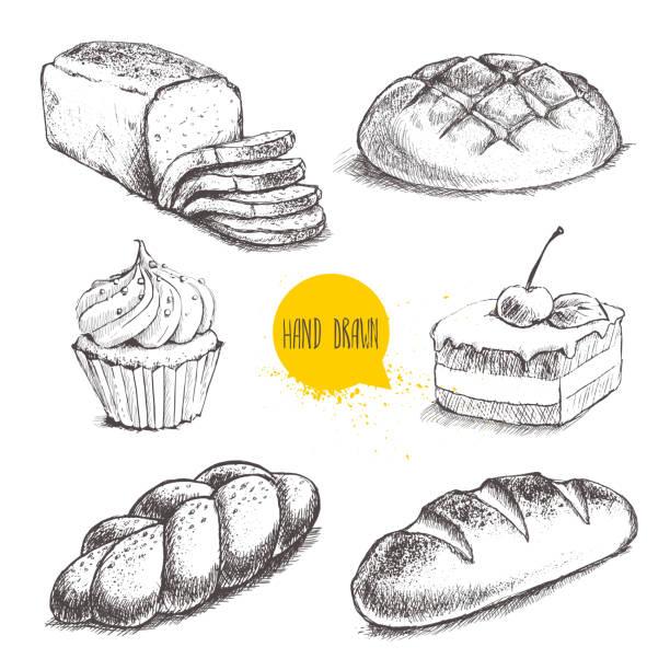 vintage handgezeichnete skizze frische backwaren stilgruppe. brot, kuchen mit kirschen und sahne kuchen - brotzopf stock-grafiken, -clipart, -cartoons und -symbole