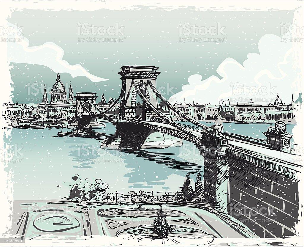 Vintage Hand Drawn Blick auf die Lions Bridge in Budapest – Vektorgrafik