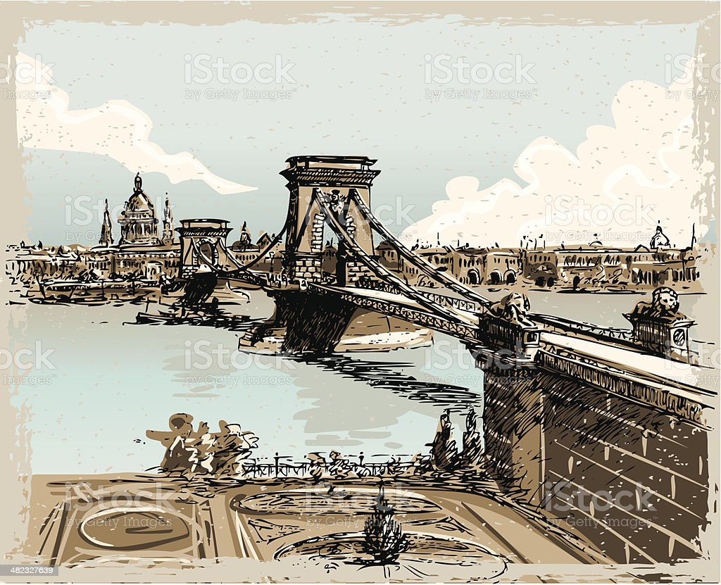 Vintage Hand Drawn View of Lions Bridge in Budapest vector art illustration