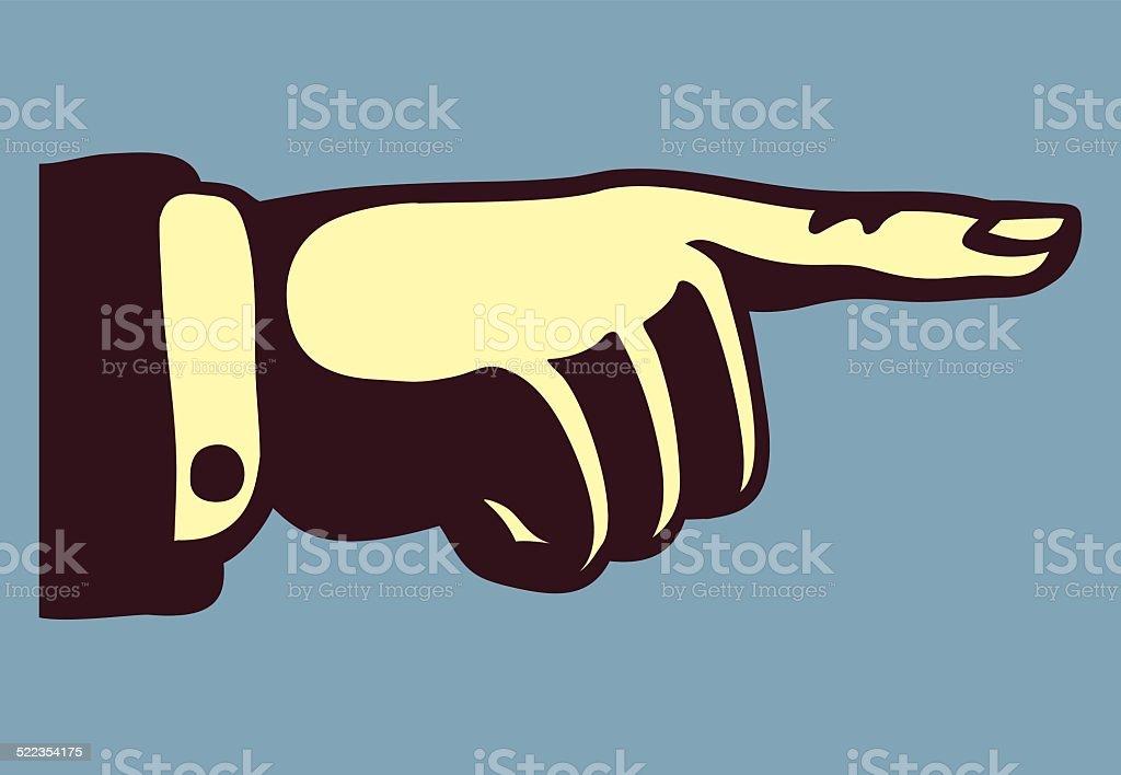vintage hand with pointing finger retro vector illustration vector art illustration