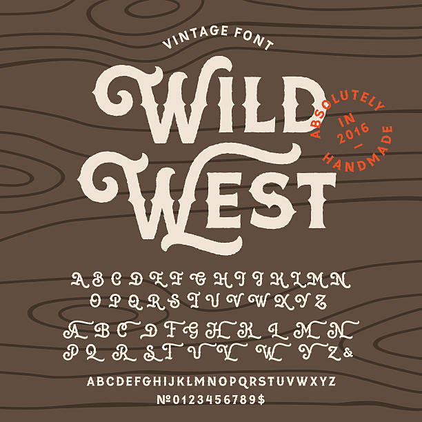 stockillustraties, clipart, cartoons en iconen met vintage handcrafted font in western style - westers schrift