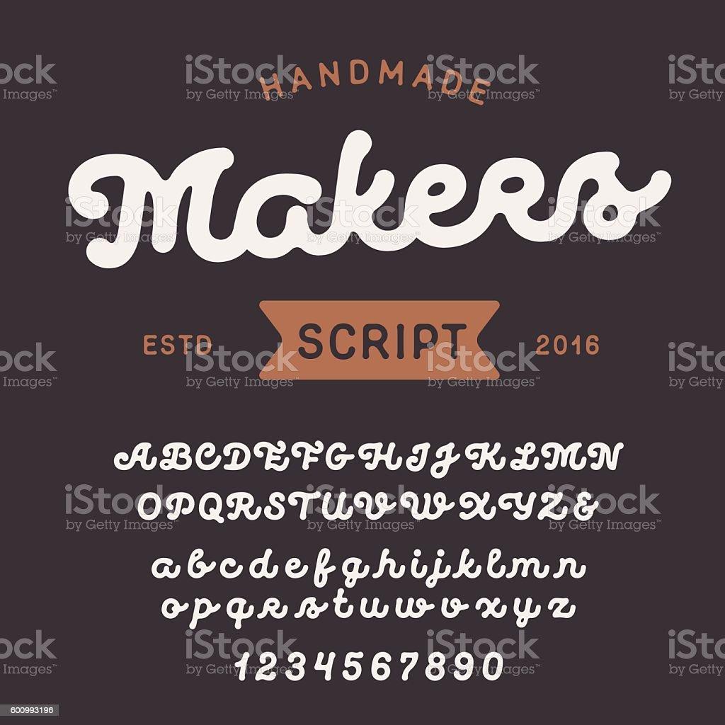 Vintage handcrafted script font. Smooth and line uppercase and lowercase - ilustración de arte vectorial