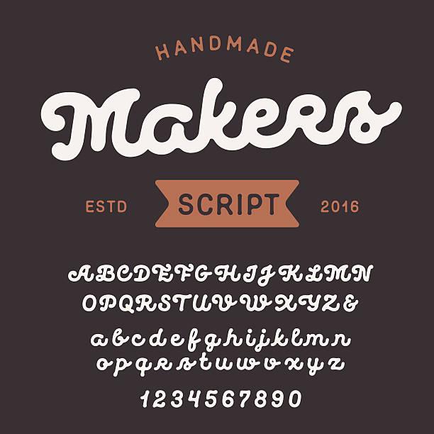 ilustraciones, imágenes clip art, dibujos animados e iconos de stock de vintage handcrafted script font. smooth and line uppercase and lowercase - comida casera