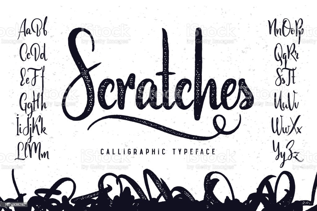 """Vintage handcrafted script typeface named """"Scratches"""" royalty-free vintage handcrafted script typeface named scratches stock illustration - download image now"""