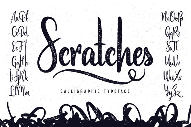 "vintage handcrafted script typeface named ""scratches"" - alphabet drawings stock illustrations"