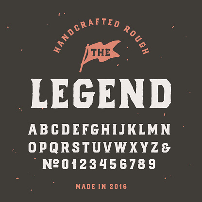 Vintage handcrafted serif font in traditional american style