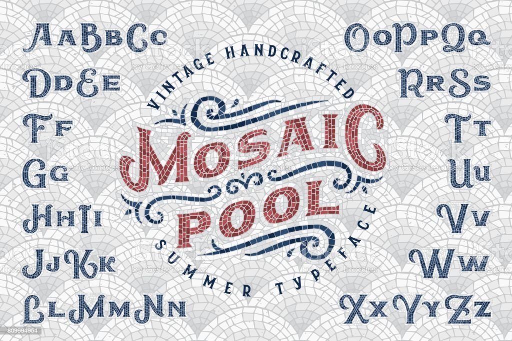 Vintage Handcrafted Summer Typeface Mosaic Pool With