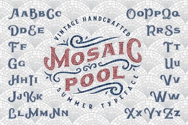 """stockillustraties, clipart, cartoons en iconen met vintage handgemaakte zomer lettertype """"mozaïek pool"""" met naadloze patroon tegels achtergrond - mozaïek"""