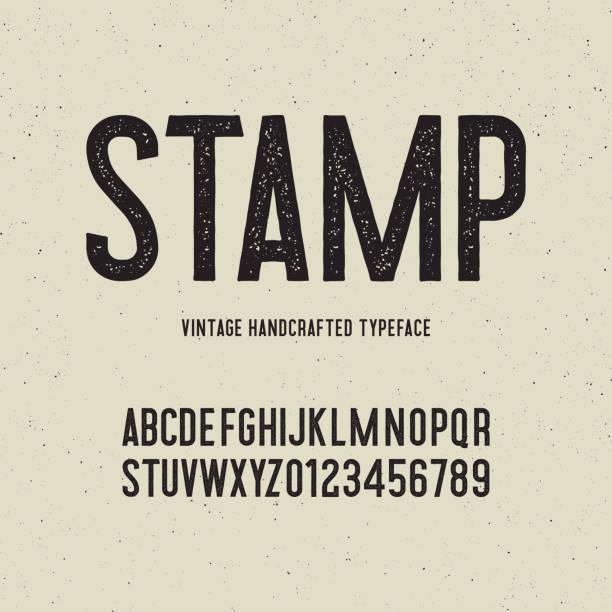 винтажный шрифт ручной работы с эффектом марки. векторная иллюстрация - алфавит stock illustrations