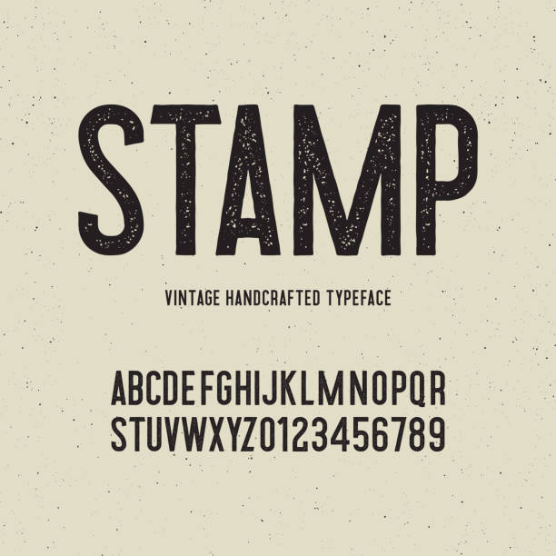 vintage handcrafted typeface with stamp effect. vector illustration vintage handcrafted typeface with stamp effect. retro font. grunge letters on textured background. vector illustration demolished stock illustrations