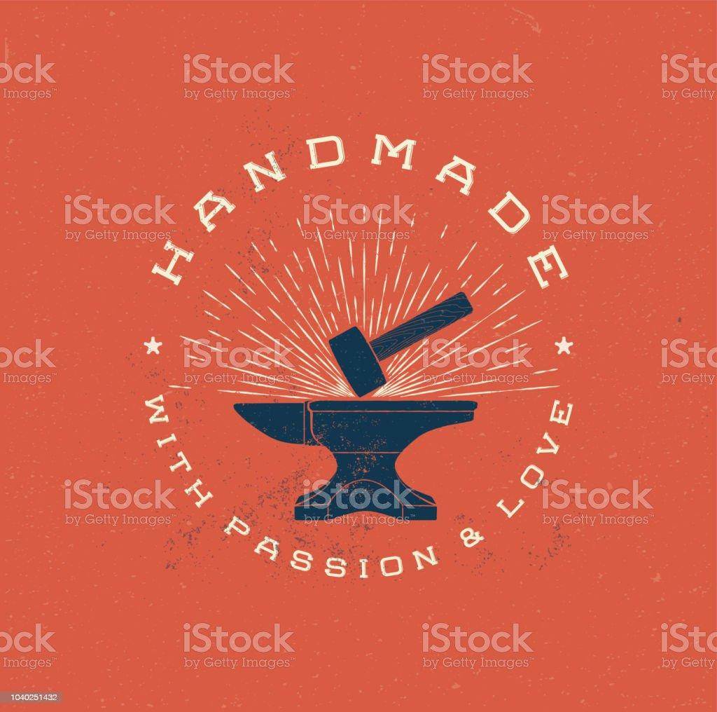 Vintage Handmade Label Badge with Anvil and Hummer. Retro styled vector illustration. vector art illustration