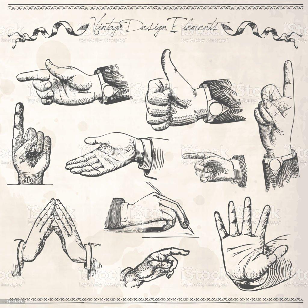 ビンテージ指を指す手 イラストレーションのベクターアート素材や画像