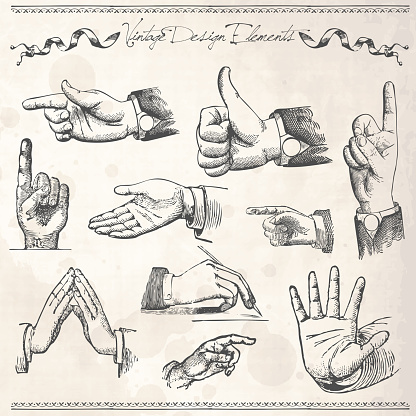 Vector Illustration Of Set of Hands Pointing