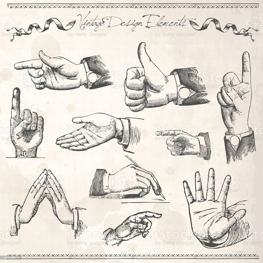 Vintage Hands Pointing vector art illustration