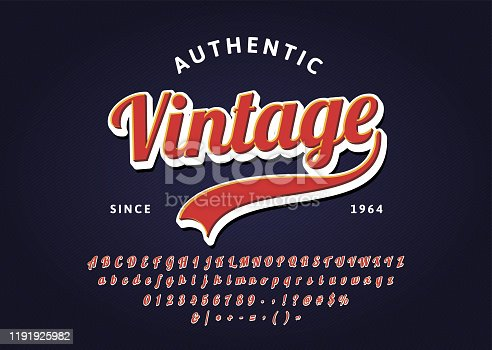 Vintage handwritten lettering headline font. Authentic Retro t-shirt. Vector script typeface. EPS10