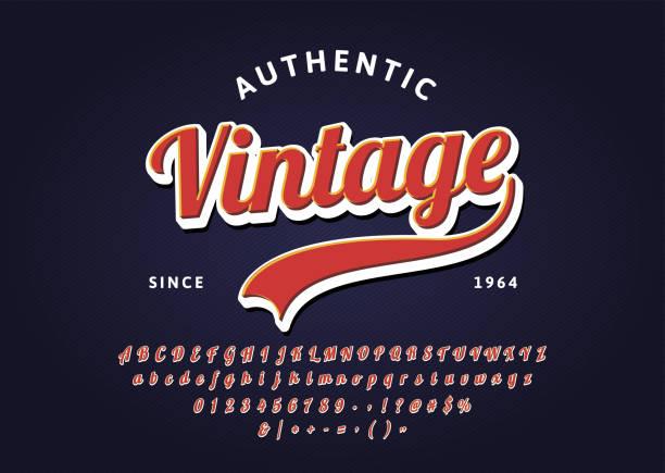 stockillustraties, clipart, cartoons en iconen met vintage handgeschreven belettering headline lettertype. authentiek retro t-shirt. vector script lettertype. - archiefbeelden