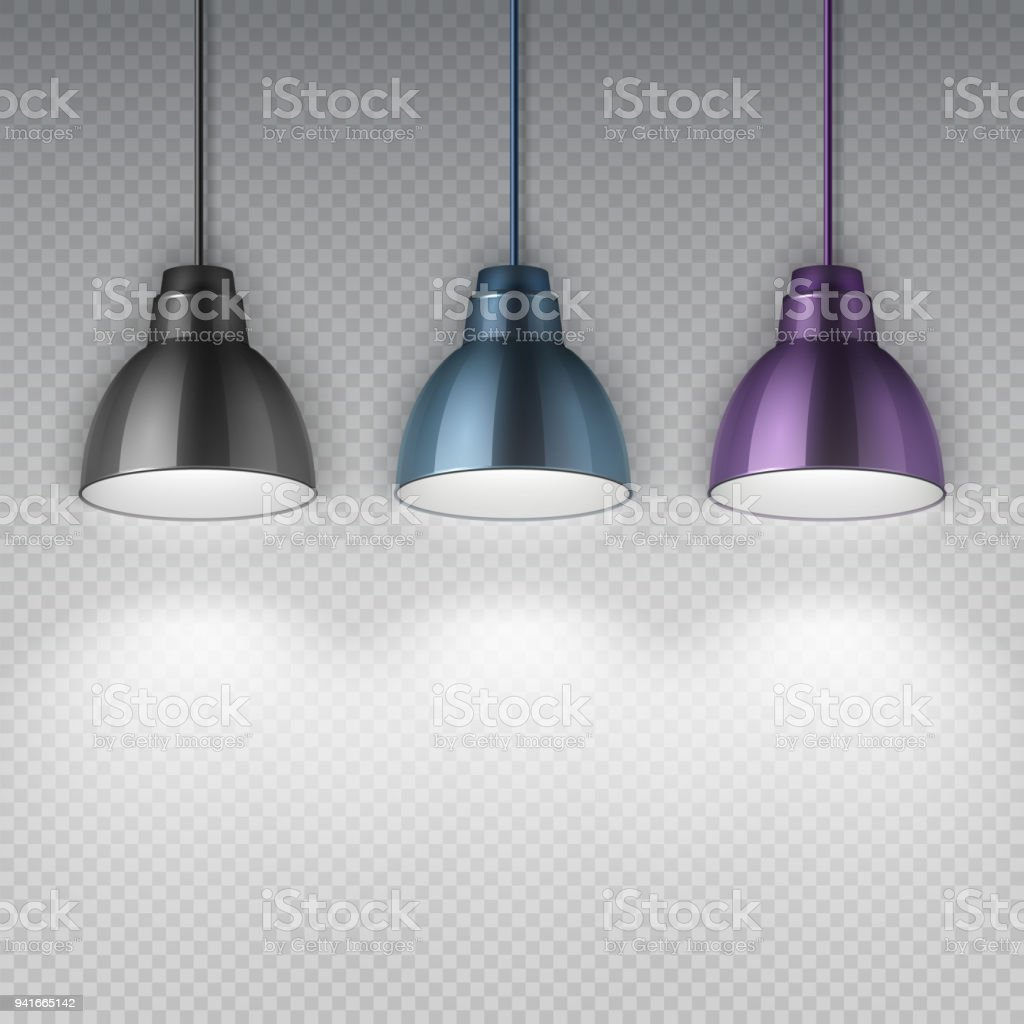 office ceiling lamps. Vintage Hang Chrome Electric Ceiling Lamps. Office Retro Chandeliers Isolated Vector Illustration Royalty-free Lamps