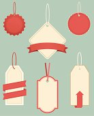 A collection of retro-style tags hanging from string or ribbon. Included is a JPG and EPS of each separate item without the background.