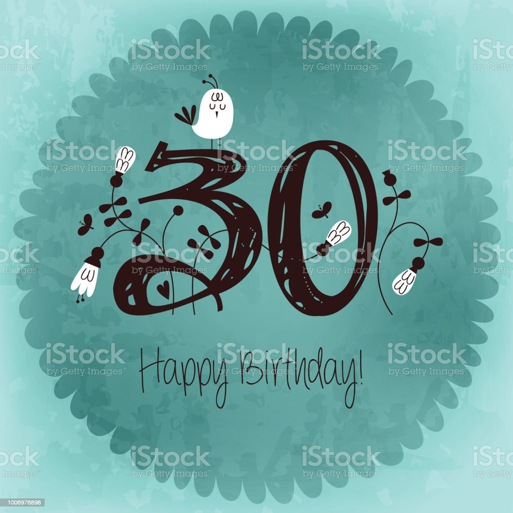 Vintage Happy Birthday Card Invitation With Number 30 Vector