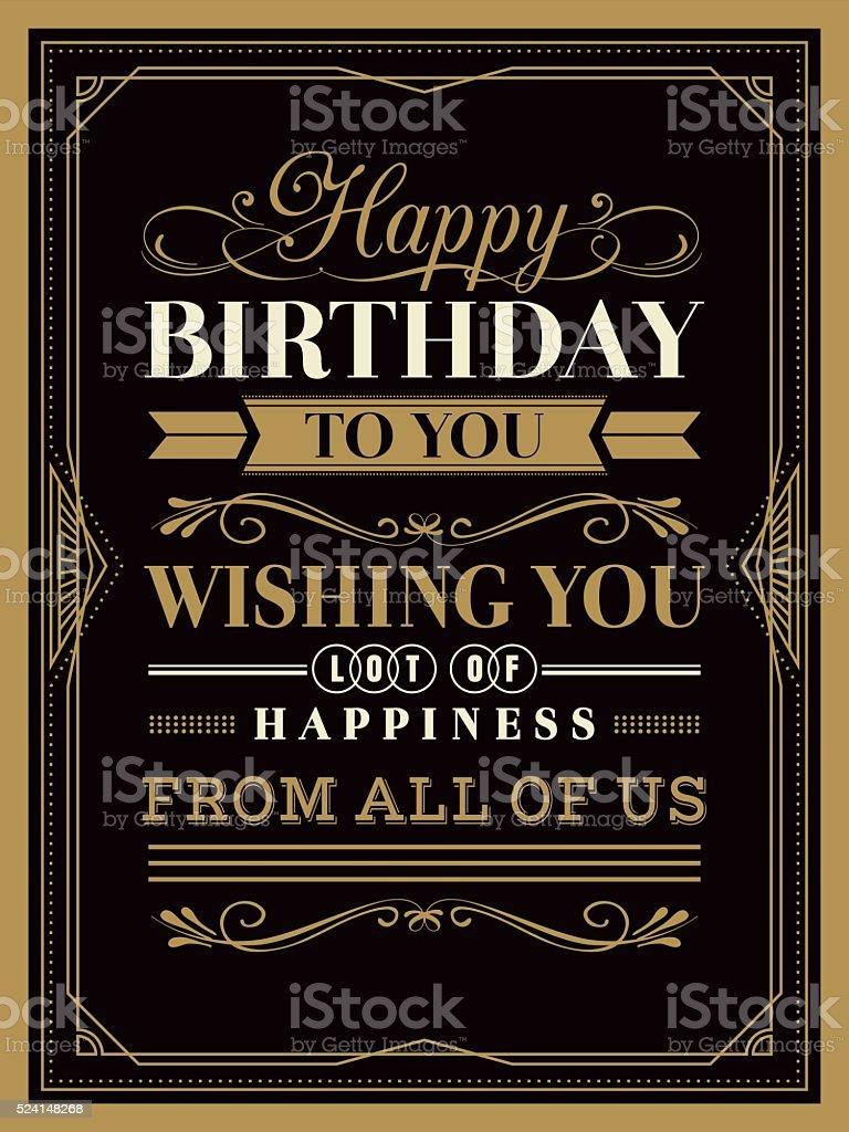 Vintage Happy Birthday Card Template Stock Illustration