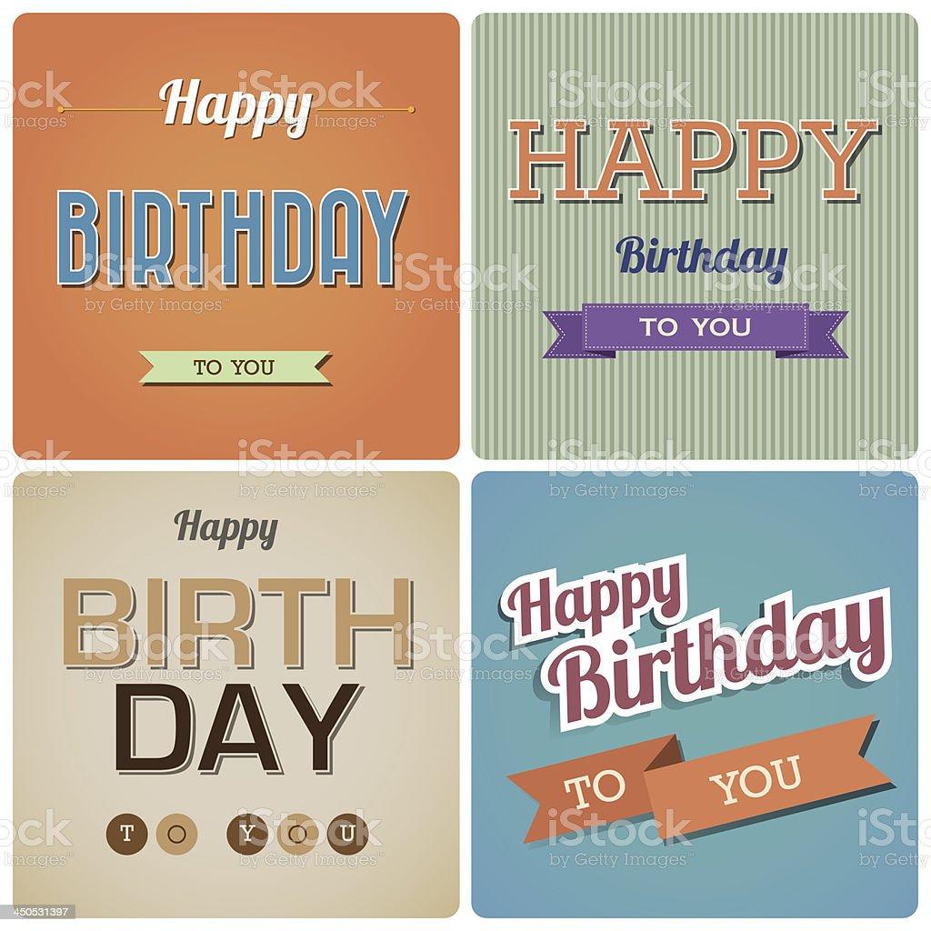 Vintage Happy Birthday Card. royalty-free stock vector art